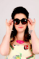 50s rockabilly marbled green round  sunglasses rockabilly pinup festival kitsch