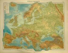 1923 MAP EUROPE PHYSICAL BRITISH ISLES SPAIN SWEDEN NORWAY ITALY ICELAND GREECE