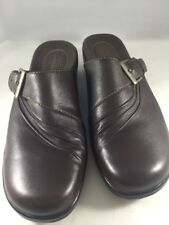 Clarks Womens Shoes Mules Size 8M Brown Leather With Buckle