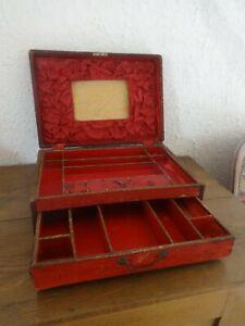 Ancien coffret XIXème Couture Bijoux à tiroir et compartiments  à restaurer