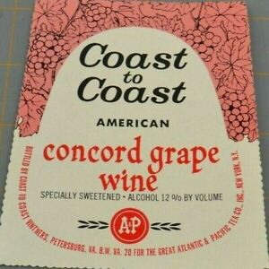 Coast TO Coast American Concord Grape Wine Vintners Vintage Paper Label Ephemera