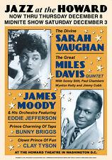 Jazz : Sarah Vaughan & Miles Davis at The Howard Washington D.C. Poster 1960
