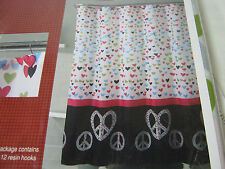 13 pc Victoria Classics PEACE OUT Printed Shower Curtain &  Hooks Set - Hearts