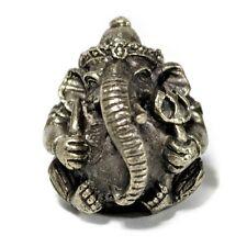 """MINIATURE GANESHA STATUE 1"""" Hindu Elephant God Amulet Tiny Pewter White Bronze"""