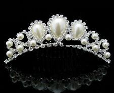 Haarkamm mit Perlen Strass Diadem Tiara Haarschmuck Krone Krönchen Brautschmuck