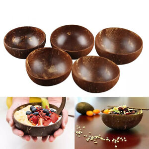 Natural Creative Rice Fruit Coconut Shell Wooden Decoration Bowl Spoon Set