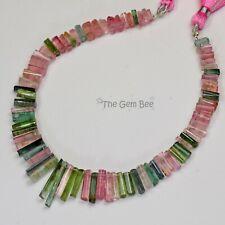 Pink Green Blue Polished Tourmaline Crystal Beads 8 inch strand
