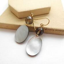 Genuine Abalone Shell Mocha Brown Glass Bead Gold Tone Dangle Earrings F46