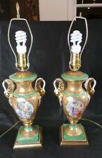PAIR OF MID CENTURY LAMPS KELLY GREEN & GOLD PORTRAITURE