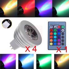 4pcs MR16 3W RGB 16 Colors Change LED Spot Light Lamp Bulb 12V + Remote Control