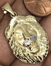 "GOLD 14k Lion Leo pendant Yellow white Diamond Cut charm 3.8g 1.40"""