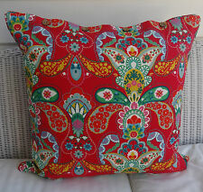 LARGE 60 X 60 CUSHION COVER 'FRIDA' BRIGHT MIX OF REDS GREENS & MORE - DAYBED