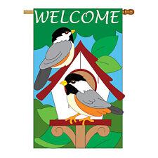 New listing Bird House - Applique Decorative House Flag - H105030-P2