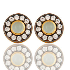 Handmade 18k Gold Plated Round Brass Studs Earrings CZ Fashion Jewelry