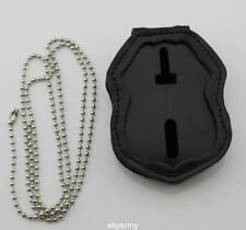 leather chain belt holder for ICE HSI Federal police badge holder