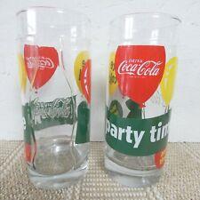 Set of 2 Very Rare Coca Cola Glasses - Party Time 1962 Glassware Vintage Retro