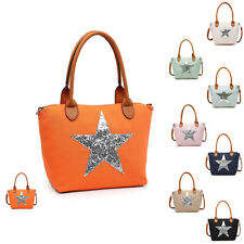 Woman Season Light & Fashion Silky Nylon Medium Star Tote Shoulder Handbag UK