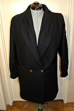 DonnyBrook Black Wool Winter Jacket Brass Lion Buttons Woman`s sz 12 Large