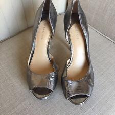 Gianni Bini Womens Stiletto Heels Sz 9.5 Leather Platform Peep Toe Metallic