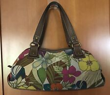 Large Fossil Floral Print Canvas Shoulder Bag Handbag Purse