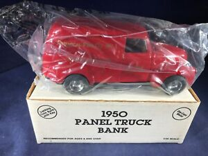 T1-46 ERTL 1:38 SCALE DIE CAST BANK - 1950 PANEL TRUCK - NIB -CHEMICAL FIRE CO 1
