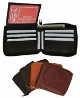 Genuine Leather Zipper Wallet Bifold Zip Around Organizer Credit Card Holder