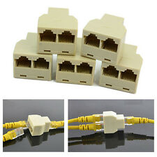 5Pcs 1 to 2 LAN ethernet Network Cable RJ45 Splitter Plug Adapter Connector