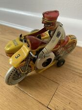 MAR Vintage Toys Police  Motorcycle Tin Litho