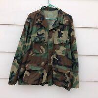 U. S. Military Combat Coat Shirt Woodland Camo BDU Large Regular Camouflage