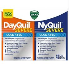 2x Vicks NyQuil and DayQuil Severe Cold and Flu Medicine Capls 48ct damaged box