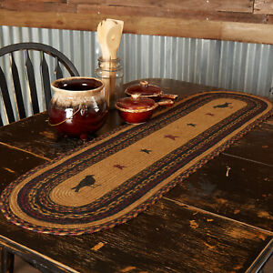 "Heritage Farms Crow Braided Jute Table Runner 13x48"" mustard tan black burgundy"