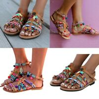 Women Summer Bohemia Sandals Gladiator Leather Beach Party Pom Roman Flat Shoes