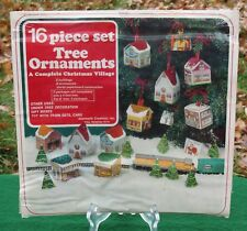 RARE Paper Cardboard 16 pc Christmas Village Tree Ornament Set Jeanmarie 70s Kit
