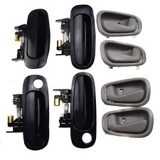 8Pcs Front Rear Black Outside Grey Inside Door Handles for Toyota Corolla 98-02