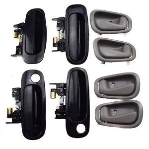 8Pcs Front Rear Black Outside Grey Inside Door Handles for Toyota Corolla 98-02