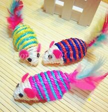 New listing Cute Mouse Ribbed Rattles Cat Pet Sisal Rope Weave Toy Chew ~Random~♫ 1pc