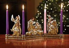 Advent Wreath Metallic Gold and Silver Carved Wood Look