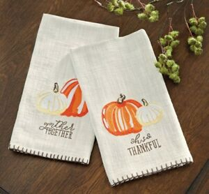 """Mud Pie H0 Home Fall Thanksgiving 23""""x18"""" Embroidered Pumpkin Towels 41500083"""