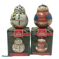 Vintage 1991 Hallmark Pressed Tin Ornaments Jolly Wolly Soldier Snowman Lot of 2