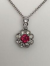 18K White Gold Cherry Red Ruby and 0.20ct Diamond Pendant with Chain