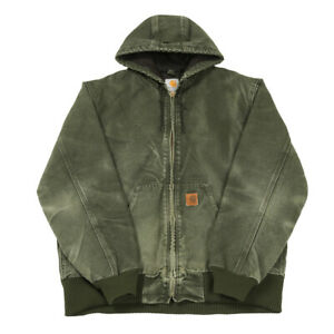 CARHARTT Quilt Lined Active Jacket | Medium | Workwear Hooded Duck Canvas Coat