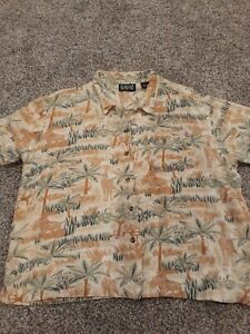 Vintage Blassport Womens 90s Safari Shirt Size Large Tiki Button Down