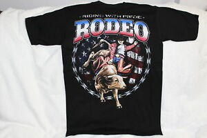BULL RIDING COWBOY RODEO RIDING WITH PRIDE WESTERN T-SHIRT
