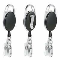 Vicloon Badge Reel,3 Pcs Reel Clips Retractable Badge Holder with Key Belt Reel