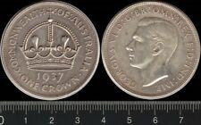 AUSTRALIA: 1937 Crown King Greorge VI silver 5/- KGVI Five Shilings