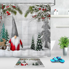 Navidad conjunto enano Abeto ramas Cortina de ducha decoración cuarto de baño accesorios de baño