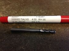 """.1575"""" 4mm 4 FLUTE SINGLE END TiAlN CARBIDE END MILL 4mm X 14mm X 4mm X 51mm"""