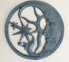 Sun Moon & Stars Celestial Face Wall Decor Metal Outdoor Plaque Sunburst Star