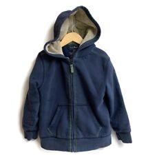 LL Bean Camp Sherpa Lined Hoodie Size 5/6 Blue Zip,  Fleece Lined