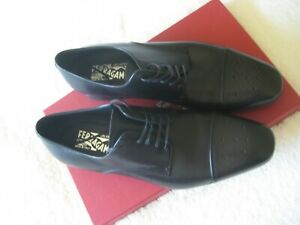$595 New Salvatore Ferragamo Cairo Oxfords Black Leather Shoes Size US 10.5 EE